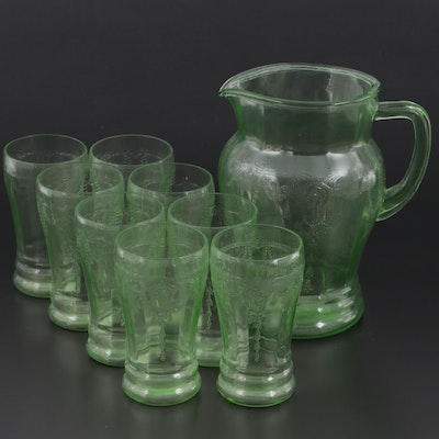 """Anchor Hocking """"Cameo Green"""" Depression Glass Tumblers and Pitcher, 1930-34"""