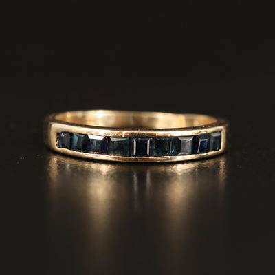 14K Sapphire Stackable Channel Band