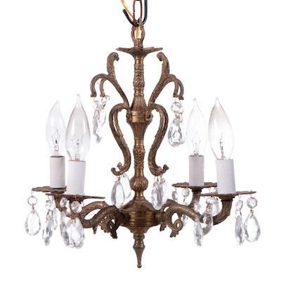 Gilt Bronze and Glass Prism Chandelier