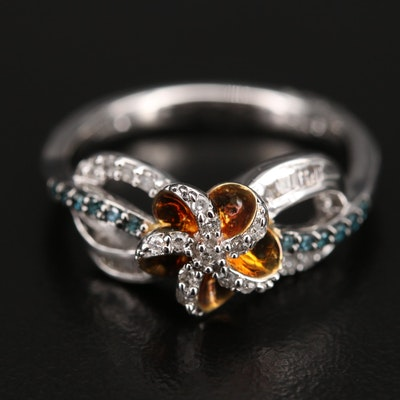 Sterling Diamond Pinwheel Ring