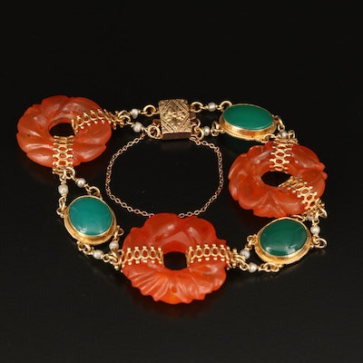 Vintage 14K Carnelian Bi Disk Bracelet with Chalcedony and Pearl Accents
