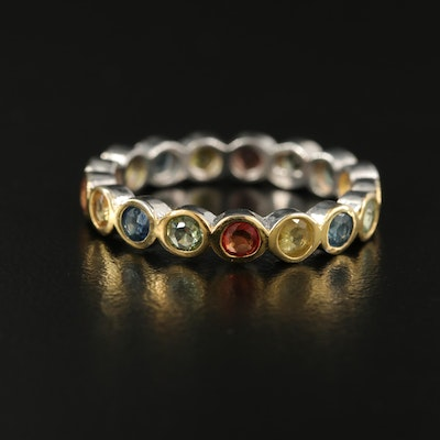 Sterling Silver Multicolored Sapphire Eternity Band