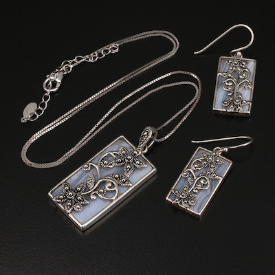Sterling Lace Agate Necklace and Earring Set