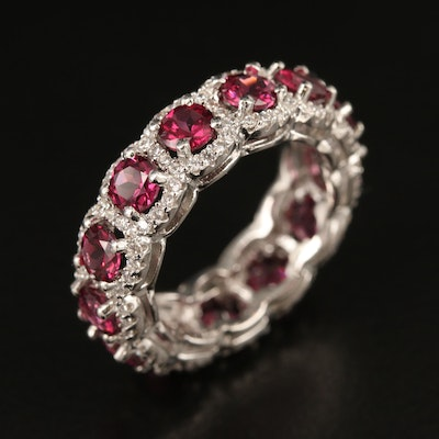 Sterling Garnet and Cubic Zirconia Eternity Band
