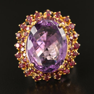 Sterling Amethyst and Garnet Double Halo Ring