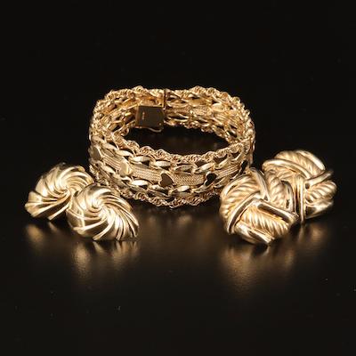 14K  Earrings and Fancy Link Heart Bracelet