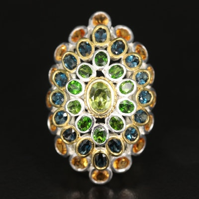 Sterling Silver Peridot, Citrine and Diopside Bombé Ring