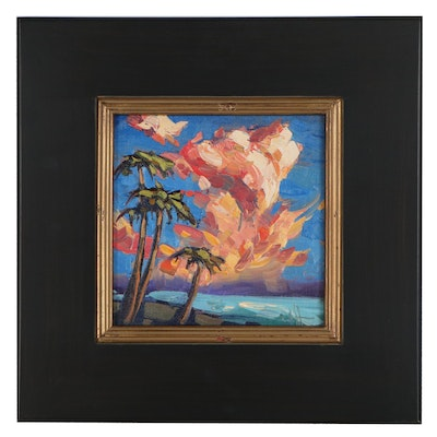 """William Hawkins Landscape Oil Painting """"Palm Reading,"""" 2021"""
