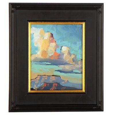 "William Hawkins Landscape Oil Painting ""Mesa Sky,"" 2021"