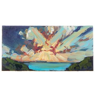 "William Hawkins Oil Painting ""Starburst Sun,"" 2021"