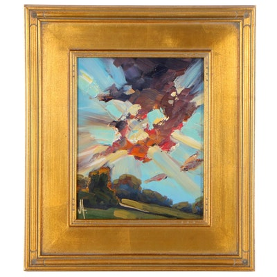"""William Hawkins Landscape Oil Painting """"Throught Sky,"""" 2021"""