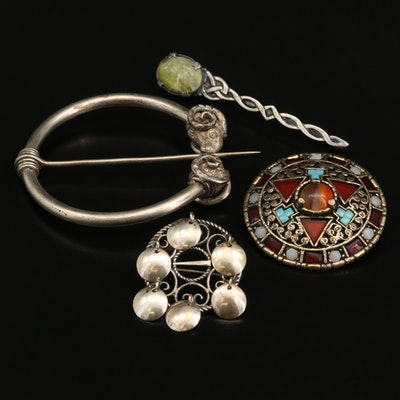 Silver and Gem Stone Brooches Featuring Celtic Knot and Scandinavian Brooches