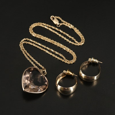 14K Smoky Quartz Heart Pendant Necklace with 14K Hoop Earrings