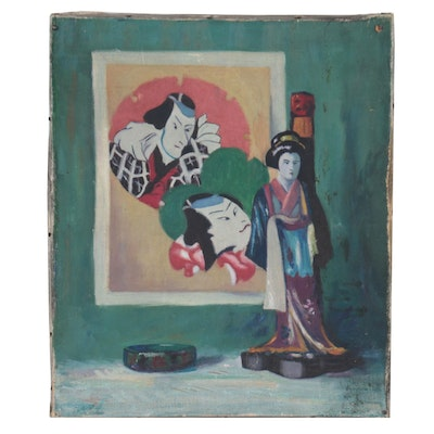 Still Life Oil Painting With Japanese Imagery