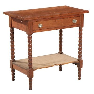 Victorian Bobbin-Turned Walnut Single-Drawer Side Table