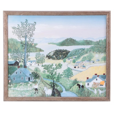 """Offset Lithograph After Grandma Moses """"A Beautiful World"""""""