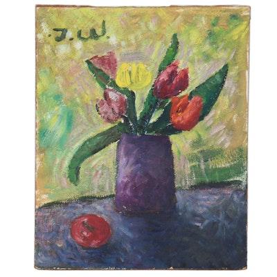 Tom Watkins Modernist Floral Still Life Oil Painting