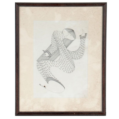 """Bill Mooney Pen and Ink Drawing """"She Flows Like a River,"""" 2009"""