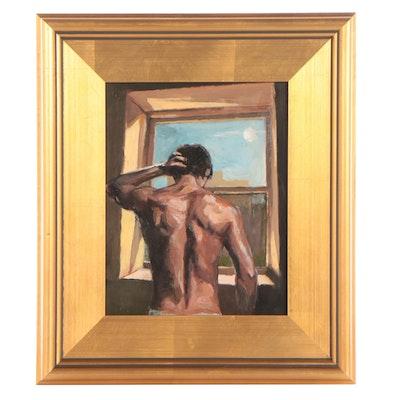 "Adam Deda Oil Painting ""Man at the Window,"" 2021"