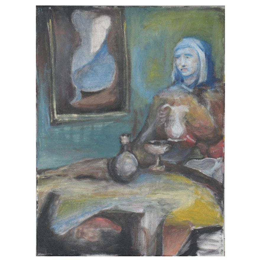 Interior Genre Scene Oil Painting