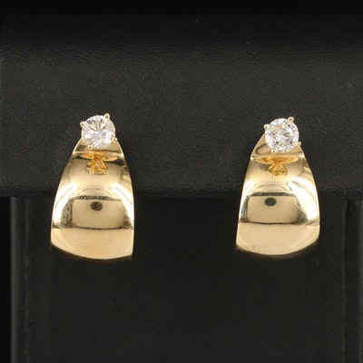 14K 0.96 CTW Diamond Stud Earrings and J Hoop Jackets