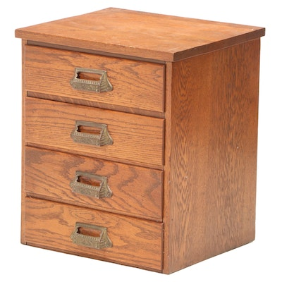 American Oak Four-Drawer Tabletop File Cabinet, Early 20th Century