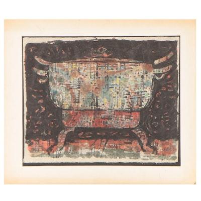 "Leonard Maurer Watercolor Painting ""Chinese Pot"""
