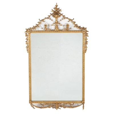 Robert Adam Style Gilt Composition and Wood Wall Mirror, Mid-20th Century