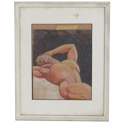 Figurative Ink and Pastel Drawing of Reclining Male Nude