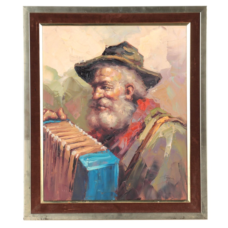 Portrait Oil Painting of Man With Accordion