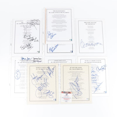 The Moody Blues, CCR, The Zombies, Donovan, More Signed Lyric Sheets, COAs