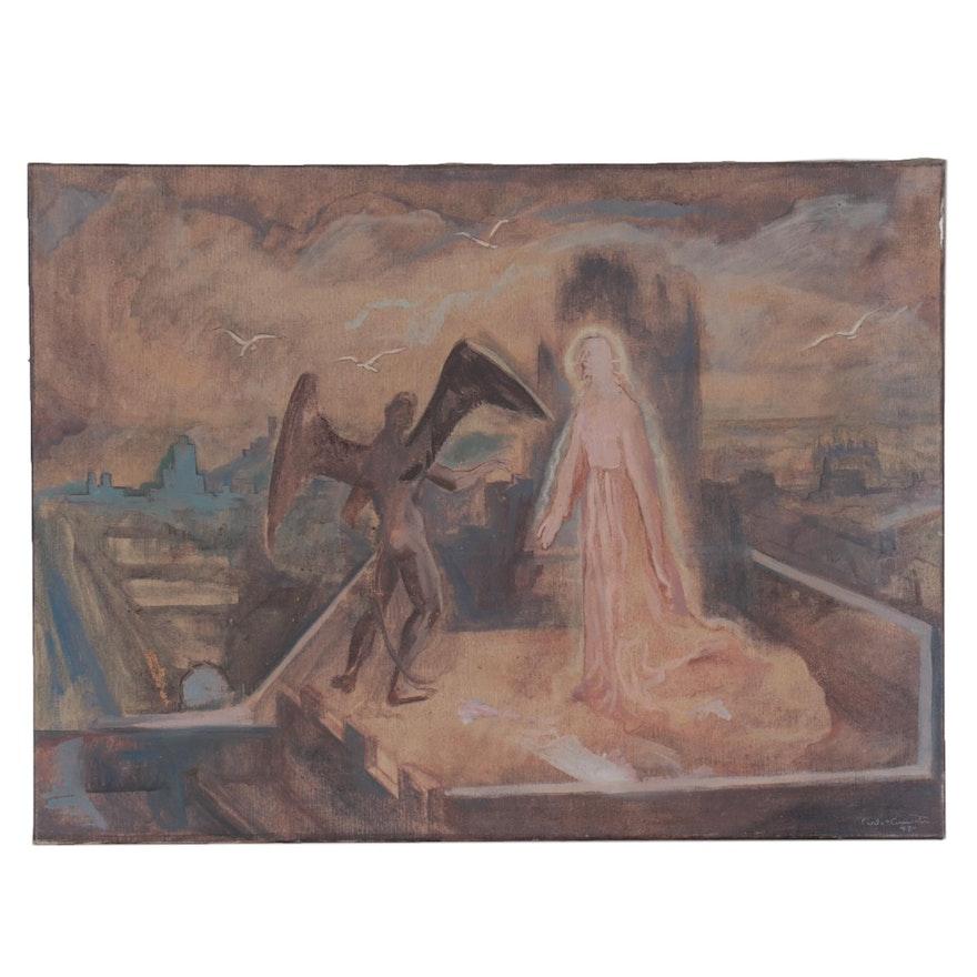 Carlos Cervantes Gospel Scene Oil Painting, 1949