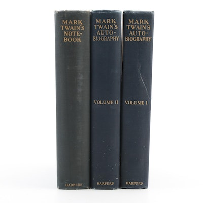 """First Edition """"Mark Twain's Autobiography"""" and """"Mark Twain's Notebook"""""""
