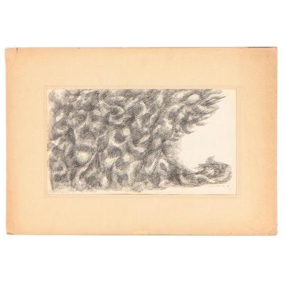 "Leonard Maurer Linear Abstract Ink Drawing ""Medusa,"" 1949"