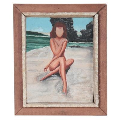 Coastal Scene Oil Painting of Female Nude on Beach