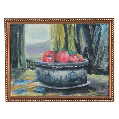 Still Life Oil Painting of Apples in Bowl