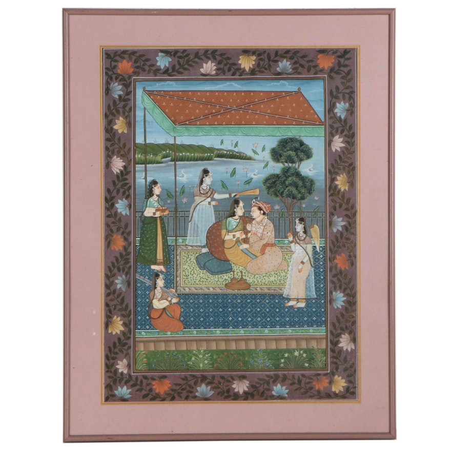 Mughal Style Nobleman and Consort on Terrace Gouache Painting