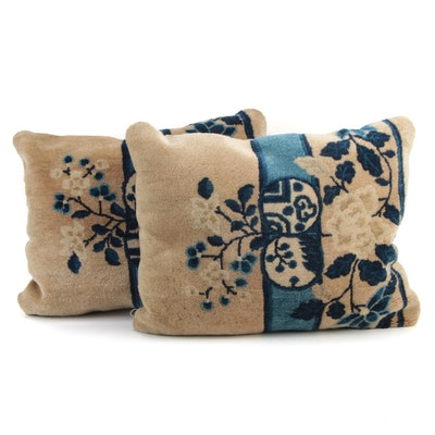 Chinese Hand-Knotted Peking Wool Rug Face Pillows, Early 20th Century