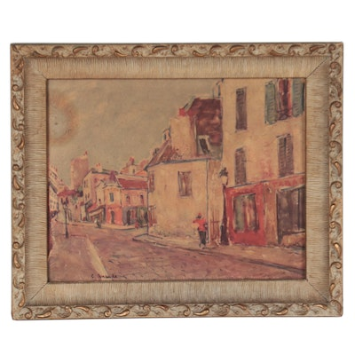 Offset Lithograph After Painting of Rue du Mont-Cenis