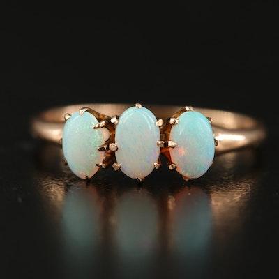 Antique 10K Three Stone Opal Ring