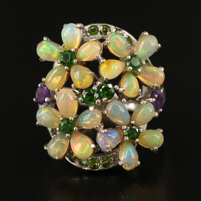 Sterling Giardinetti Ring with Opal, Diopside and Amethyst
