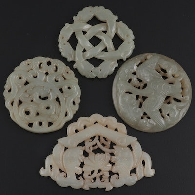 Chinese Carved Serpentine Medallions