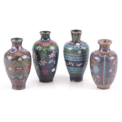 Chinese Cloisonné Miniature Floral Motif Vases