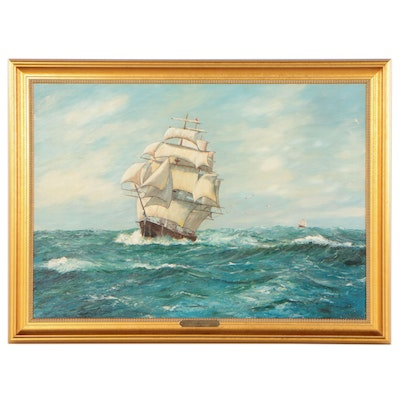 """Oil Painting After Charles Vickery """"Full Sails,"""" 1999"""