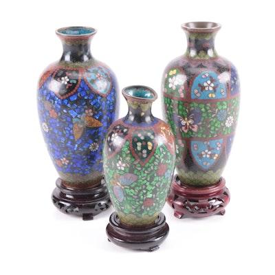 Miniature Floral Motif Cloisonné Vases with Wooden Stands