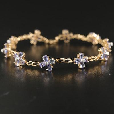 10K Tanzanite and Diamond Floral Stationary Bracelet