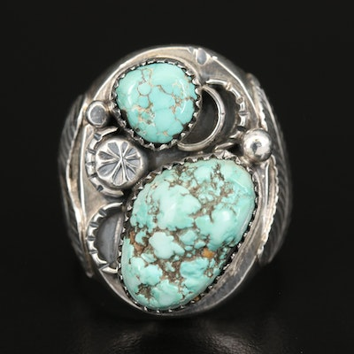 Western Sterling Turquoise Feather Ring