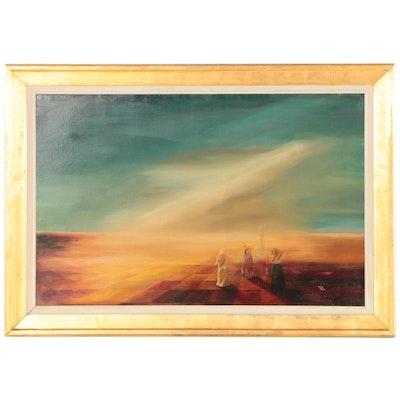 "Ruxandra Papa Surrealist Oil Painting ""Orizont Albastru"""