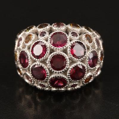 Sterling Rhodolite Garnet and Tourmaline Domed Ring