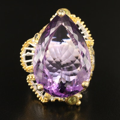 Sterling Silver Amethyst Ring with Peridot, Iolite and Additional Gemstones